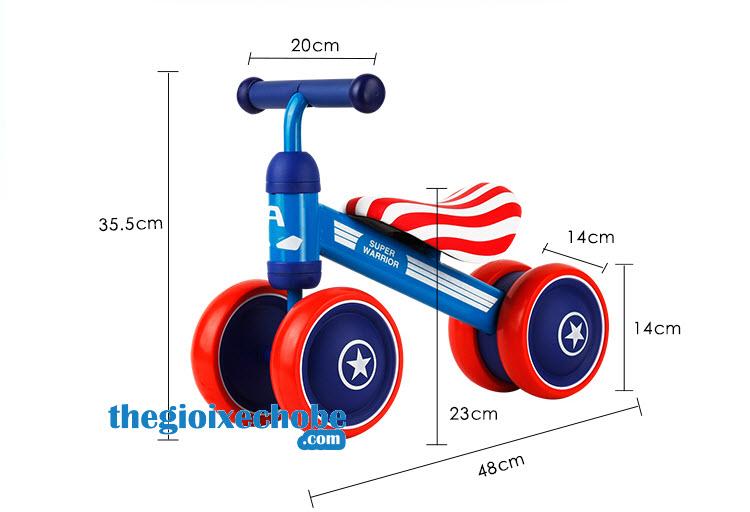 Kích thước xe thăng bằng cho bé YBE-9988 màu xanh