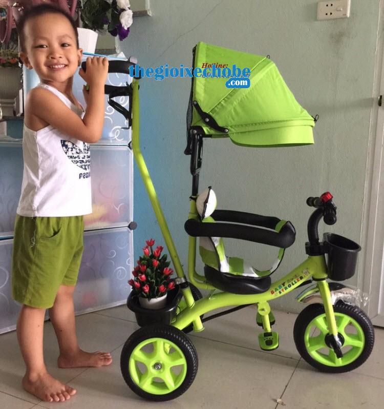 Xe 3 bánh trẻ em 6666 màu xanh cốm
