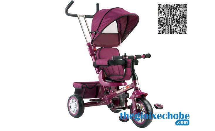 Xe ba bánh trẻ em B32-2 có mái che - cần đẩy màu tím