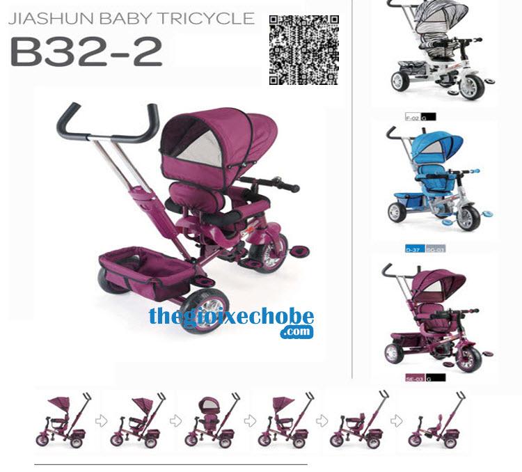 Xe ba bánh trẻ em B32-2 có thể xoay các tư thế