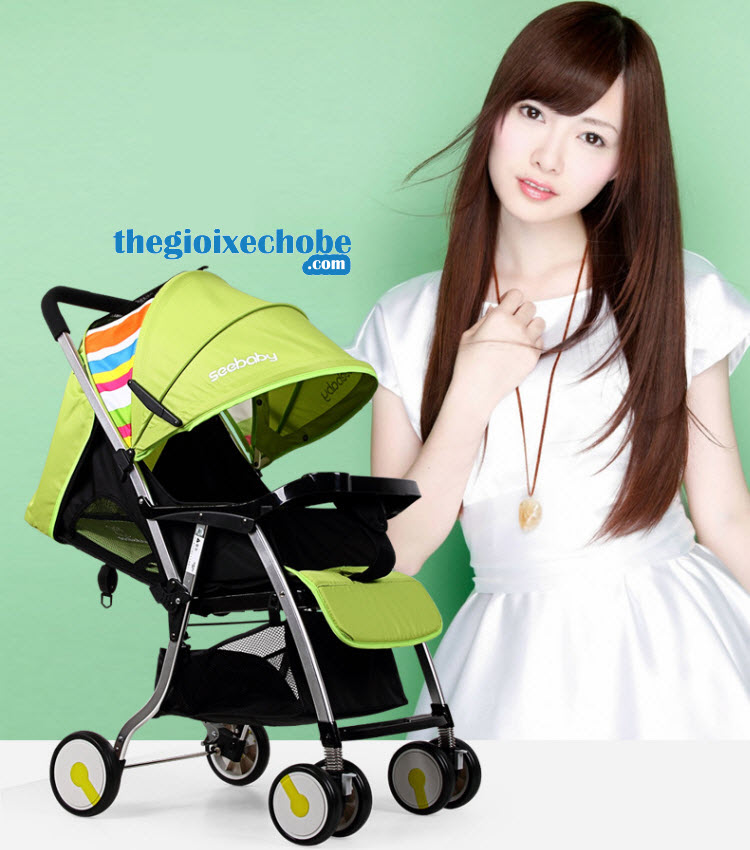 Xe đẩy trẻ em Seebaby T05 màu xanh