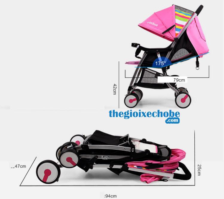 Kích thước xe đẩy trẻ em Seebaby T05