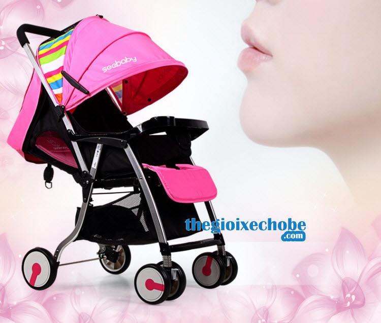Xe đẩy trẻ em Seebaby T05 màu hồng