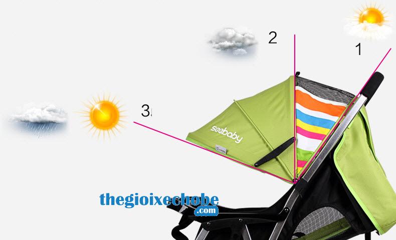 Xe đẩy trẻ em Seebaby T05 mái che có nhiều nấc phù hợp với mọi thời tiết