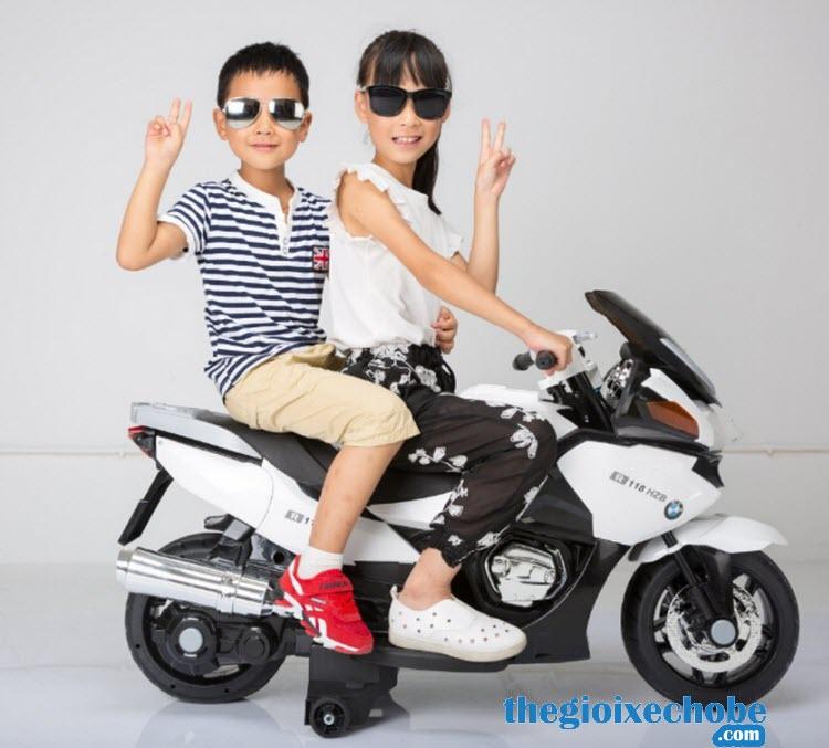 Xe máy điện trẻ em HZB-118 màu trắng
