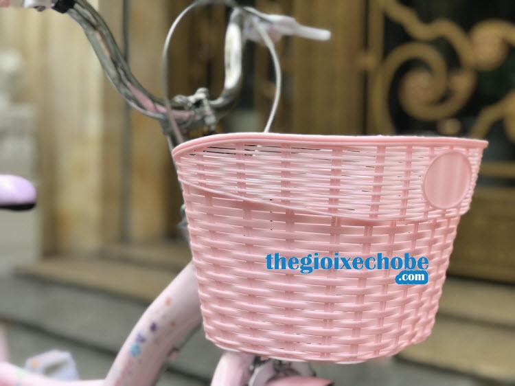 Xe đạp nàng tiên cá cho bé gái-158 có giỏ xe rộng thoải mái cho bé để đồ