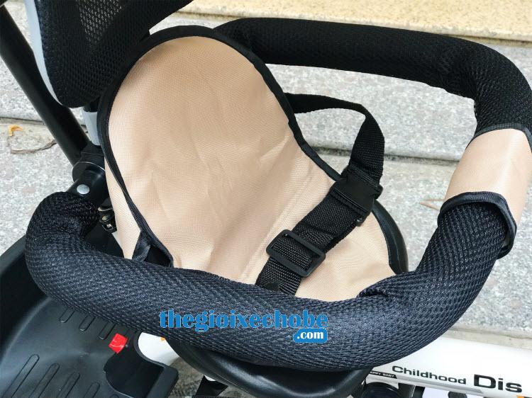 Xe đạp 3 bánh trẻ em DS-138 ghế ngồi có khung an toàn có thể tháo rời
