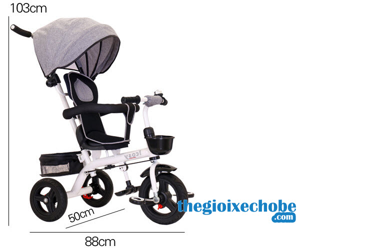 Kích thước xe đạp 3 bánh trẻ em 313 màu ghi