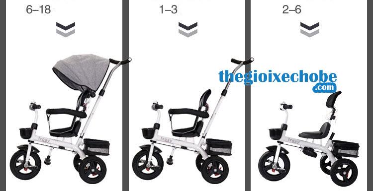 Xe đạp ba bánh trẻ em 313 có thể tháo rời các bộ phận khi bé lớn
