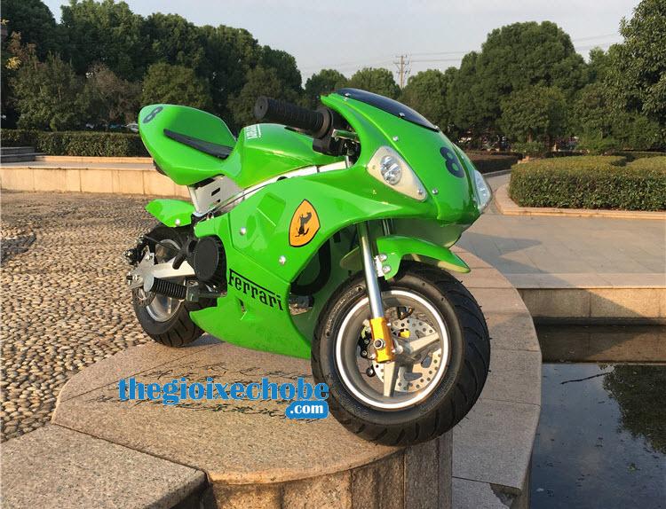 Xe máy chạy xăng thẻ thao trẻ em màu xanh lá cây