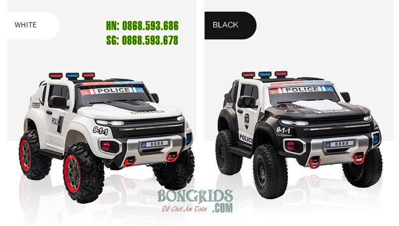 Xe ô tô điện cảnh sát cho bé BLJ8888B có 2 màu cơ bản như hình