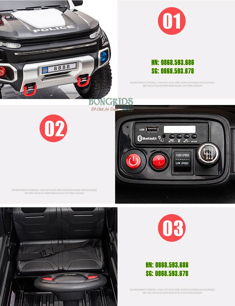 Xe hơi điện cảnh sát cho bé BLJ-8888B chi tiết